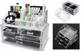 صندوق شفاف منظم بادراج حفظ المكياج و الاكسسوار و المجوهرات