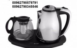 سخان وغلاية الماء + ابريق شاي زجاج مع قاعدة بلاستيك سيلفر كريست 2 في 1 غلا
