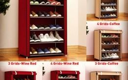 خزانة الأحذية المصنوعة من القماش والحديد المكون من 4 طبقات . موجود بعده